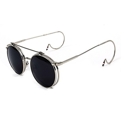New Fashion Unisex Vintage Round Flip Up Hook Sunglasses Women Men Retro Steampunk Mirrored Glasses