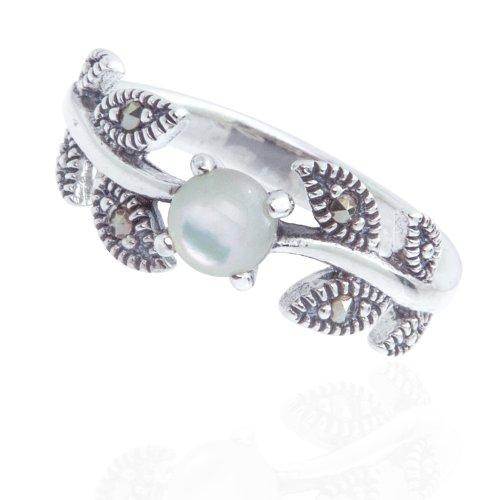 925 Oxidized Sterling Silver Ivy Leaf Vine Ring Swarovski Marcasite & Mother Of Pearl Ring Size 7,8