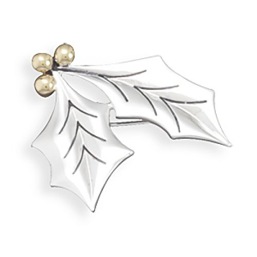 MMA Silver - Two Tone Holly Leaves Fashion Pin/Pendant
