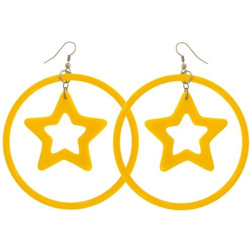 Plastic Hoops with Star In Yellow
