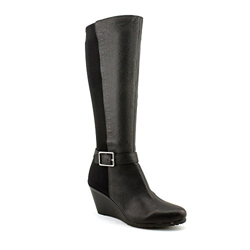 Calvin Klein Women'S Taya Leather Slouch Boot,Black,8.5 M Us