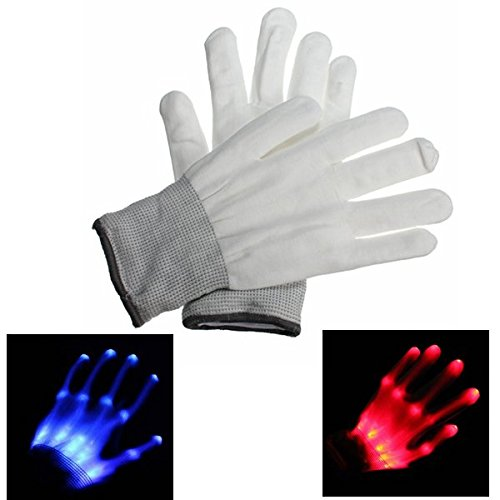 Pink Lizard LED Signal Lights Gloves For Riding Dance Rave Party Clubs Full Fingers Halloween