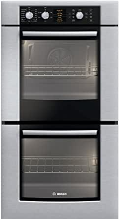 "Bosch HBN5650UC 500 Series 27"" Double Electric Wall Oven with Genuine European Convection in Upper Oven, and Glass Touch Controls in Stainless Steel"