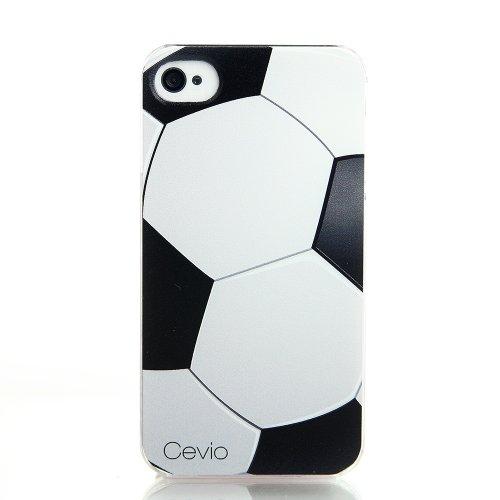 Cevio 正規品 iPhone 4s ケース ( サッカー ) 手に馴染み ボール 表面 の リアル な感触の 凹凸彫刻柄 ブランド スポーツ 携帯 iPhone 4 4s カバー スマホ apple 4s case ケース アップル スマートフォン ジャケット アイフォン 4s アイホン 4s + 高級 液晶保護フィルム
