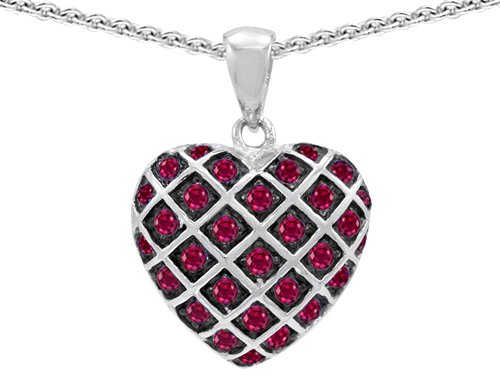 Original Star K(tm) Created Ruby Puffed Heart Pendant in .925 Sterling Silver