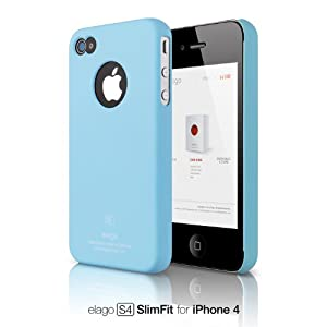 elago S4 Slim Fit Case for iPhone 4 (Soft Feeling) - SF Pastel Blue + Logo Protection Film included
