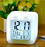 デジタル時計 置時計 キューブ型 カラー:ホワイト