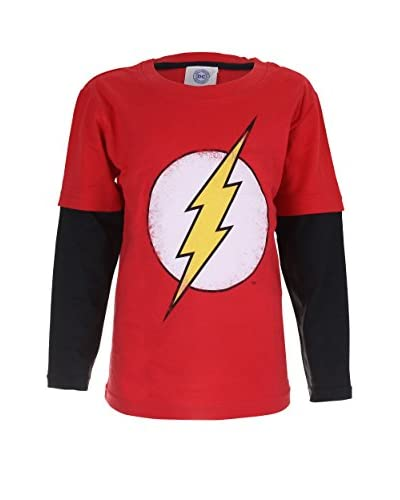 DC COMICS Camiseta Manga Larga Flash Distress Logo