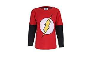 DC COMICS Camiseta Manga Larga Flash Distress Logo (Rojo / Negro)