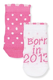2 Pairs of Cotton Rich Born in 2013 Baby Socks