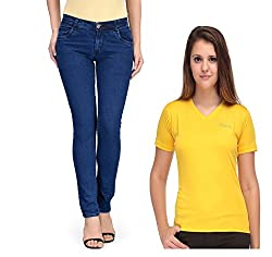 Oleva Women combo set of 2 (denim Blue jeans and yellow T-Shirt ) ONC-10_28