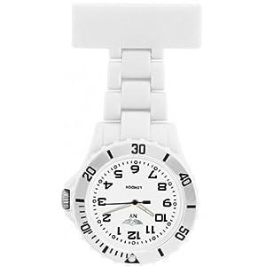 Reloj de Bolsillo Unisex Enfermera Prince London con Bisel Giratorio de Plástico en Blanco PI-2026 marca Prince London