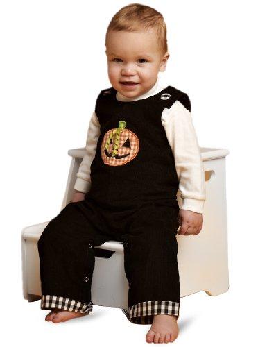 Mud Pie Baby-Girls Newborn Halloween Longall, Black/Orange, 0-6 Months