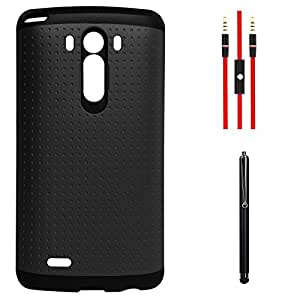 DMG Dual Hybrid Silicone Skin Dotted Back Case For LG G3 D855 (Black) + AUX Cable + Stylus