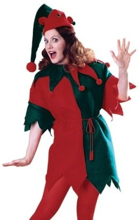 Womens XMAS Christmas Costumes Green Red Holiday Elf Costume Theme Party Outfit