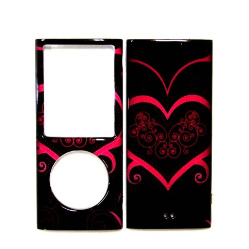 Cuffu - Black Princess Heart - IPod Nano 4 / 4G (4th Generation) Smart Case Cover Makes Top of the Fashion + FREE Screen Protector in Only One LOWEST Shipping Rate $2.98 - Goes With Everyday Style and Apparel