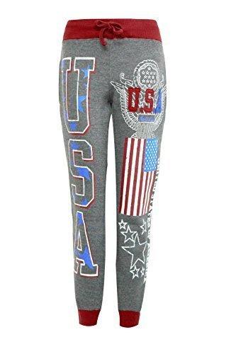 Candy Floss Damen USA Jogginganzug Jogginghose Damen Höschen Jogginghose Größen 8-14 - Silber Grau, 38