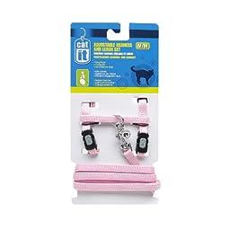 Catit Nylon Adjustable Cat Harness and Leash Set, Medium, Pink