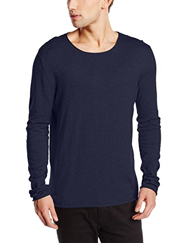 Selected SHDDOME CREW NECK NOOS-Felpa Uomo    Blu (Navy Blazer) Large