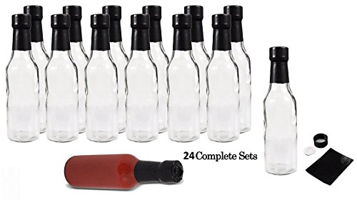 Hot Sauce Bottles with Black Caps & Shrink Bands, 5 Oz - Case of 24 by PremiumVials (Hot Sauce Glass Bottles compare prices)