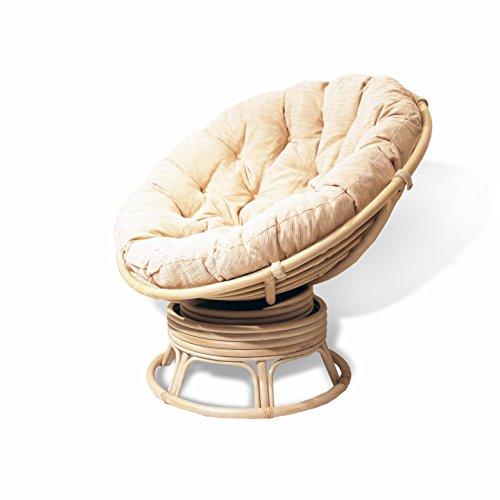 Rattan Wicker Swivel Rocking Round Papasan Chair with Cushion White Wash
