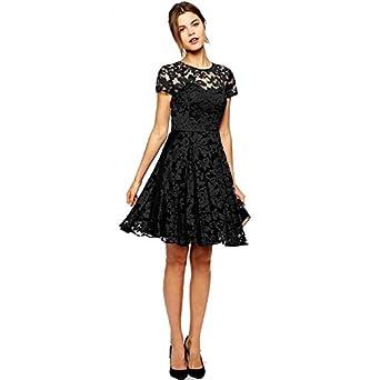 Vestido Black Lace Casual Short Dress Work Wear Dress Bkyo-101 at