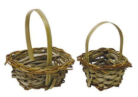 Set Of 12 Miniature Straw Baskets For Fairy Gardens, Favors, And Crafting front-188533