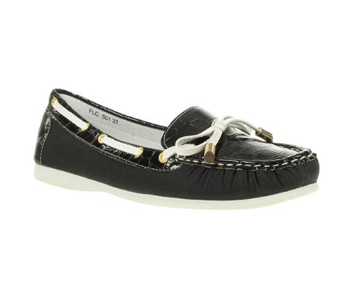 Lunar Womens Ladies Black Patent Bow Trim Boat Shoes