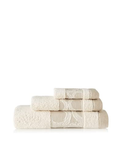 Belle Epoque 3 Piece Jacquard Circle Towel Set, Natural Linen