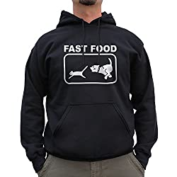 Nutees Fast Food Dog Chasing Cat Funny Unisex Hoodie - Black