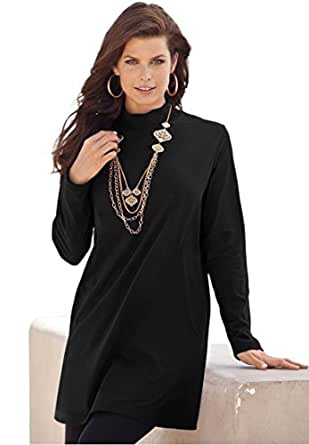 Roamans Women's Plus Size Mock Neck Trapeze Max Tunic (Black,M)