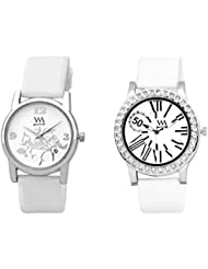 Watch Me WHITE Combo Set Of 2 Analogue Watches Gift For WOMEN WMAL-103W-102W