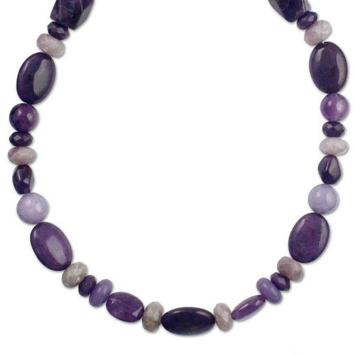 Sterling Silver Purple Multi-Gemstone Beaded Necklace - 24