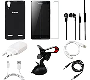 NIROSHA Tempered Glass Screen Guard Cover Charger Headphone / Hands Free USB Cable Car Holder for Lenovo A6000 - Combo