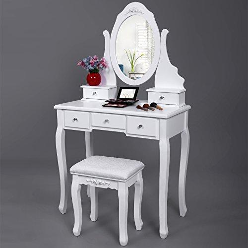 Songmics tocador blanco con espejo taburete y cajones mesa - Mesa tocador ikea ...