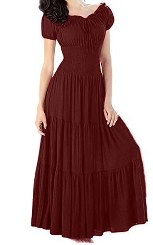 Meaneor Women Boho Cap Sleeve Smocked Waist Tiered Renaissance Summer Maxi Dress (M, Wine Red)