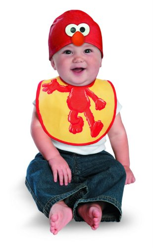 Disguise Costumes Drool Over Me Sesame Street Elmo Infant Bib and Hat  Accessory, Red/Yellow, 0-12 Months - 1