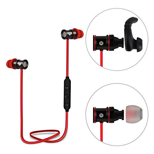 iEC Bluetooth4.1 ワイヤレス イヤホン 密閉型 ランニング仕様 マイク内蔵 磁気吸引機能付き ブラック&レッド