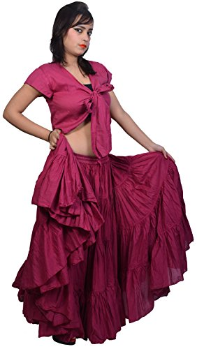 Wevez-Womens-Gypsy-25-Yard-Solid-Color-Cotton-Skirt