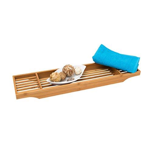 Relaxdays Badewannenablage Bambus, aus hochwertigem Holz