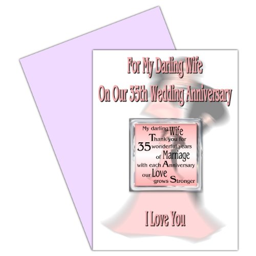 Wife 35th Wedding Anniversary Card With Removable Magnet Gift - 35 Years - Our Coral Anniversary