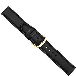 Herzog Beach Correa de Reloj piel de becerrocuero Band negro con costura 20432G, Ancho de la pulsera: 16mm por Herzog