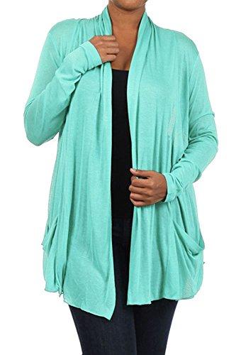 1X 2X 3X Plus Size Cardigan Blouse Top Long Sleeves Mint Size 2X