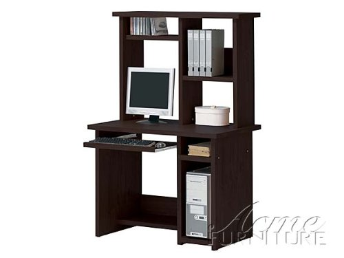 Espresso Finish Wood Computer Desk And Hutch By Acme