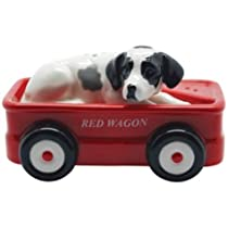 Westland Giftware Dalmatian and Red Wagon Salt and Pepper Shakers