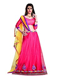 7 Colors Lifestyle Pink Coloured Net Embroidered Semi-Stitched Lehenga Choli
