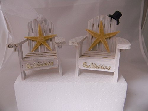 Wedding Reception Adirondack Chairs Beach Real Starfish Cake Topper White