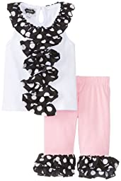 Mud Pie Baby-Girls Newborn Ruffle Tunic and Capri Set, Black/Pink/White, 0-6 Months