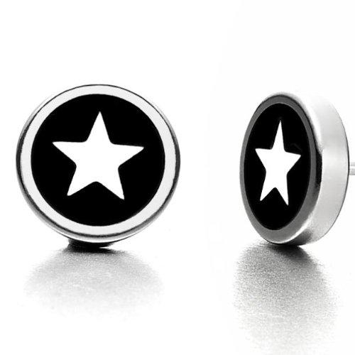 Beautiful Mens Star Stud Stainless Steel Earrings Silver & Black
