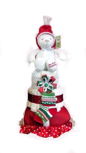 Baby's First Christmas Baby Shower Diaper Cake Gift Set- 3 Tier